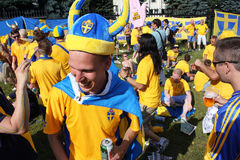 Swedish football fans have fun during EURO 2012 Royalty Free Stock Photography
