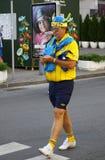 Swedish football fans walks on the streets of Kyiv city Stock Photos