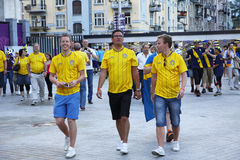 Swedish football fans walks on the streets of Kyiv city Royalty Free Stock Photo