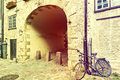 Swedish gate is a famous medieval architectural ensemble in old Riga city Stock Photos