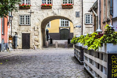 Swedish Gate in the old city of Riga, Latvia Royalty Free Stock Images