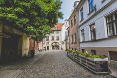 Swedish Gate in the old city of Riga, Latvia Stock Photo