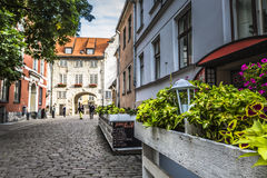 Swedish Gate in the old city of Riga, Latvia Royalty Free Stock Image