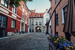 The Swedish Gate in The Old Town, Riga, Latvia Royalty Free Stock Photos