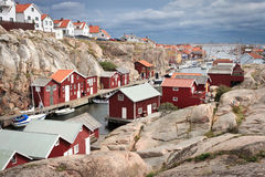 Swedish harbour. Swedish west coast boat houses Stock Photos