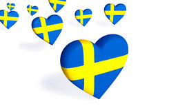 Swedish Hearts. Heart-shaped Swedish flag flying effect Stock Photography