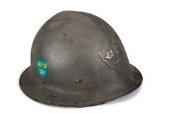 Swedish helmet ww2. On a white background Stock Images