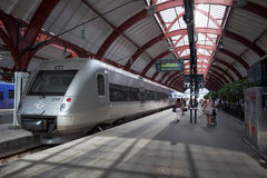 Swedish high-speed train on the platform. Stock Image