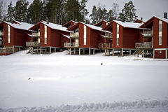 Swedish homes in the winter Royalty Free Stock Photo