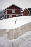 Swedish homes in the winter Stock Images