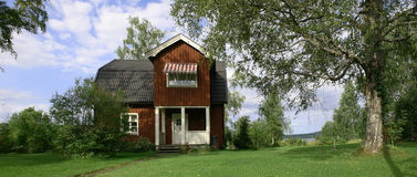 Swedish House. Panorama shot of a traditional Swedish house royalty free stock photography