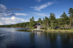 Swedish house by the lake Royalty Free Stock Images