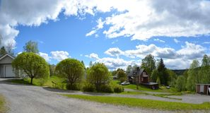 Swedish houses and garden Royalty Free Stock Image