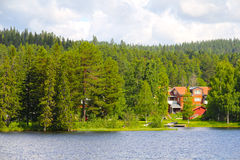 Swedish houses near lake Stock Photo
