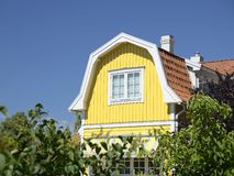 Swedish housing in summer. With blue sky royalty free stock image