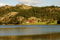 Swedish Huts. A small swedish farm on the lakeside royalty free stock photo