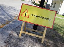 Filming. Swedish information sign at a filming location that shooting is on going stock photography