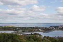 Swedish Islands bridge. Beautiful landscape of island Styrsö and bridge near Gothenburg in summer Stock Photos