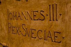 JOHANNES III bronze writing at dom kyrkan royalty free stock images