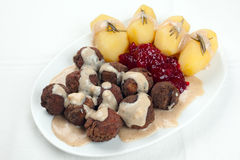 Swedish Kottbullar meatball sauce potatoes jam Stock Photography
