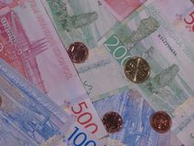 Swedish Krona notes and coins, Sweden. Swedish Krona banknotes and coins SEK, currency of Sweden Stock Photos