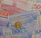 Swedish Krona notes and coins, Sweden. Swedish Krona banknotes and coins SEK, currency of Sweden Stock Images