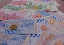 Swedish Krona notes and coins, Sweden. Swedish Krona banknotes and coins SEK, currency of Sweden Royalty Free Stock Photo