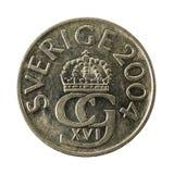 5 swedish krona coin 2004 reverse isolated on white background. Specimen royalty free stock images