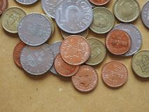 Swedish Krona coins, Sweden. Swedish Krona coins money SEK, currency of Sweden Royalty Free Stock Images