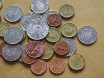 Swedish Krona coins, Sweden. Swedish Krona coins money SEK, currency of Sweden Royalty Free Stock Photography