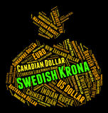 Swedish Krona Indicates Exchange Rate And Banknote Stock Photo
