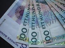 Swedish Krona and Norwegian Krone notes. Swedish Krona SEK, currency of Sweden and Norwegian Krone NOK notes Stock Photography