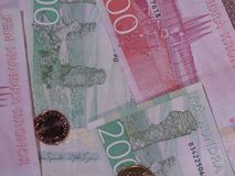 Swedish Krona notes and coins, Sweden. Swedish Krona banknotes and coins SEK, currency of Sweden Royalty Free Stock Photography