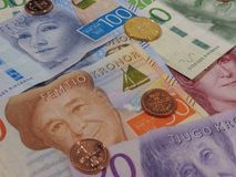 Swedish Krona notes and coins, Sweden. Swedish Krona banknotes and coins SEK, currency of Sweden Royalty Free Stock Images