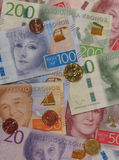 Swedish Krona notes and coins, Sweden. Swedish Krona banknotes and coins SEK, currency of Sweden Stock Image