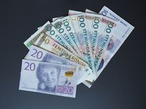 Swedish Krona and Norwegian Krone notes Royalty Free Stock Images