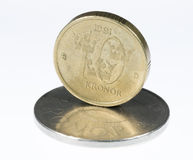 Swedish 10 Krona Standing Stock Photo