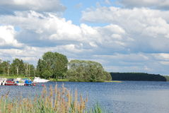 Swedish lake with boats. In summer Royalty Free Stock Photos