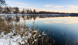 Swedish lake after first snow Stock Photos