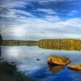 Swedish lake with reflection. Sweden cozy autumn reflection. City Växj royalty free stock photography