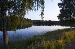 Swedish Lake in Småland. A Swedish lake at night in Småland Stock Photos