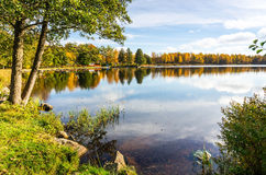 Swedish lake in warm October month Royalty Free Stock Photo