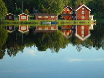 Swedish lakeside. On a warm summer evening Stock Photo
