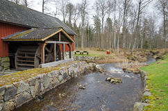Swedish landscape with watermill Royalty Free Stock Photos