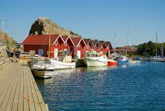 Swedish landscape on the west coast, with a lot of boathouses Stock Photos