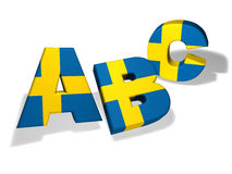 Abc Swedish School Concept. Swedish language school and education concept with the letters Abc and the colors of Sweden flag on white background royalty free illustration