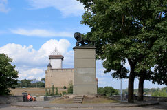 SWEDISH LION AND MEDIEVAL CASTLE Royalty Free Stock Image