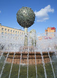 Swedish Lion tries to knock down the tree of orange. Fountain in Oranienbaum Stock Photo