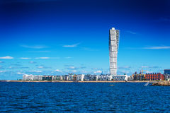 Swedish Malmo West Harbor Area Cityscape with Turning Torso. MALMO, SWEDEN - JUNE 26, 2015: Malmo West Harbor Area Cityscape with Turning Torso as Distinctive Royalty Free Stock Images