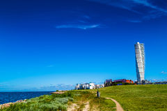 Swedish Malmo West Harbor Area Cityscape with Turning Torso. MALMO, SWEDEN - JUNE 26, 2015: Malmo West Harbor Area Cityscape with Turning Torso as Distinctive Stock Photography